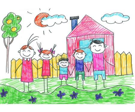 Photo pour Des parents et des enfants heureux. Enfants naïfs dessin - image libre de droit