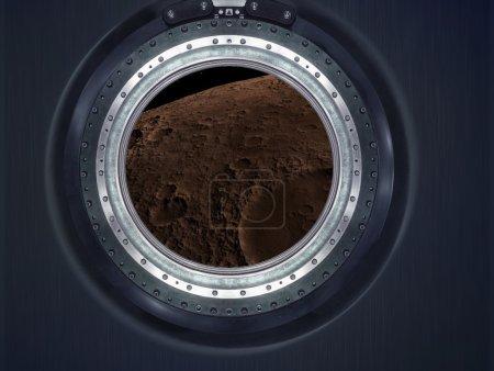 Photo pour Lune, sur Mars du paysage de la planète extraterrestre. Voir le vaisseau spatial... Éléments de cette image fournie par la Nasa. - image libre de droit