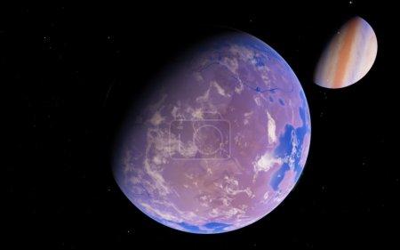 Photo pour Fantastique loin Exo Planet - Planète Terre-Comme - image libre de droit
