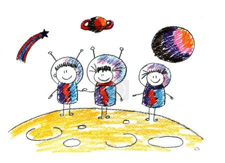 Foto de Niños felices en el espacio. Imagen de niños felices - Imagen libre de derechos