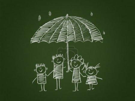 Photo pour La protection sociale de la famille. Style de dessin pour enfants . - image libre de droit