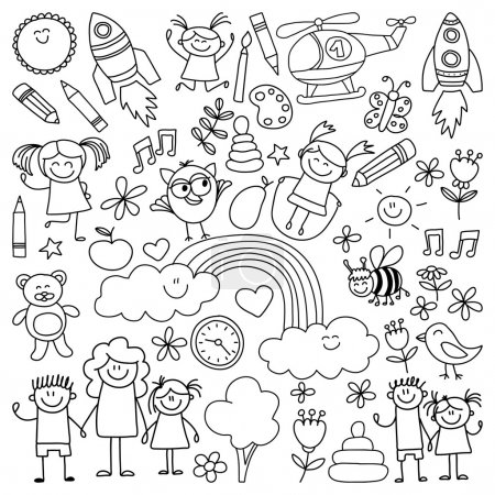 Vector set of kindergarten images