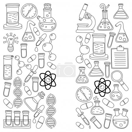 Illustration for Chemistry Pharmacology Natural sciences Vector doodle set Hand drawn images - Royalty Free Image