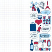 Online french courses Language school Vector set of doodle icons