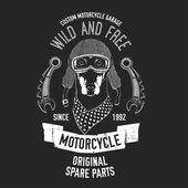 Biker quote with dog for garage service t-shirt spare parts Vector image