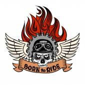 Vintage Biker Skull with wings and flame