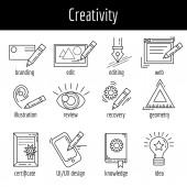 Vektorové sada ikon o tvůrčím procesu