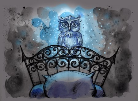 Watercolor illustration of magical owl