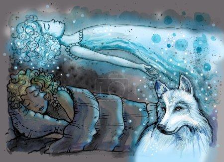 Photo pour Illustration aquarelle de fille dans son lit avec loup magique à côté. Projection astrale d'une fille au-dessus de son sommeil paisible. Illustration dessinée à la main couleur numérique - image libre de droit