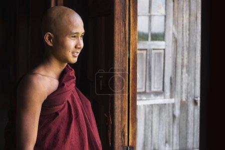 Happy Novice Buddhist Monk at Indein Village, Inle Lake, Myanmar