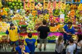 Customers Grocery Shopping at Municipal Market in Sao Paulo, Brazil