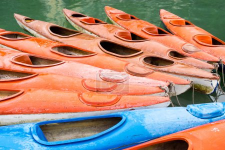 Colorful Kayaks in the Waters of Halong Bay, Vietnam