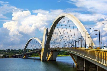 Photo for Traffic on JK Bridge crossing Lake Parana in Brasilia, the capital of Brazil. - Royalty Free Image