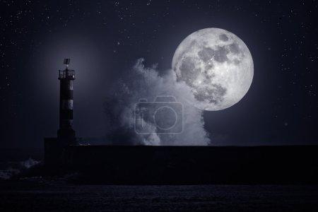 Штормовая волна ночью