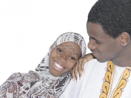 Young Afro couple showing love and affection, isolated