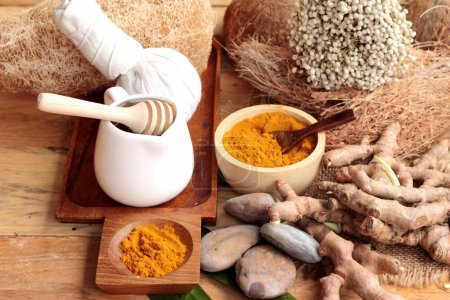 Phlai herb, Cassumunar ginger both fresh and as a powder for the