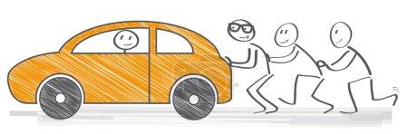 Illustration pour Moteur en panne. Équipe forte poussant une voiture - image libre de droit