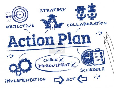 Illustration for Action Plan. Chart with keywords and icons - Royalty Free Image