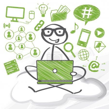 Illustration pour Utilisateur assis avec un ordinateur sur un nuage - image libre de droit