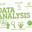 Data Analysis. Chart with keywords and icons...