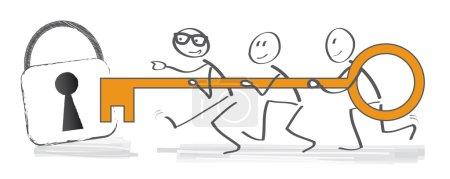 Illustration pour La clé du succès - L'équipe a la clé du succès et d'un cadenas ouvert - image libre de droit