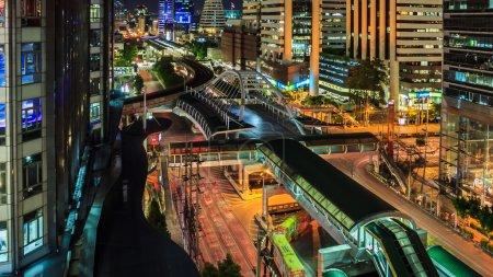 Bangkok city, Chong Nonsi skywalk. Logos and trade...