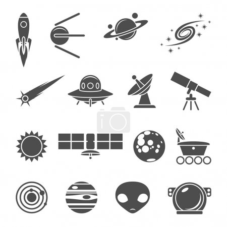 Illustration for Space black and white icons set - Royalty Free Image