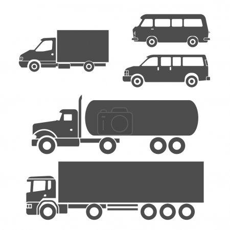 Illustration pour Camions noir et blanc icônes ensemble - image libre de droit