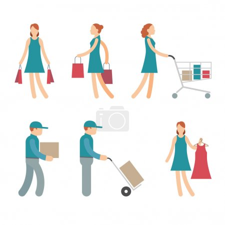 Vector Shopping Characters and employees of delivery on White Background