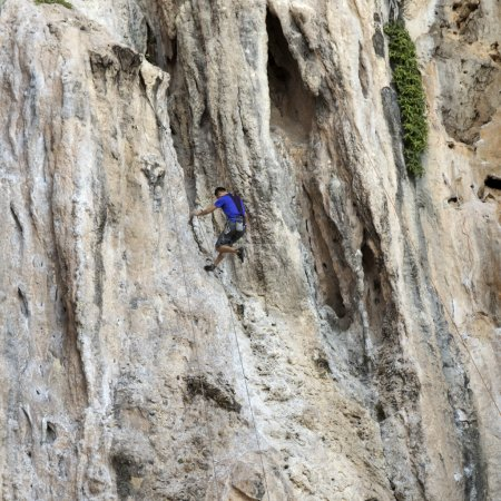 Rock climbers climbing the wall on Phra Nang beach