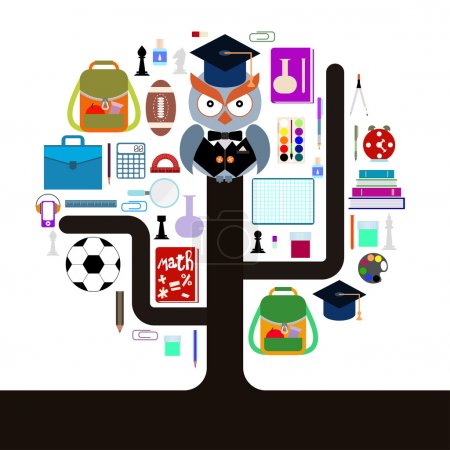 Back to school. Owl with school supplies. Tree of knowledge. Flat design.