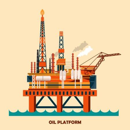 Illustration pour Concept de plate-forme pétrolière offshore défini avec du pétrole. Hélipad, grues, derrick, colonne de coque, canot de sauvetage, atelier, collecteur, module élévateur à gaz . - image libre de droit
