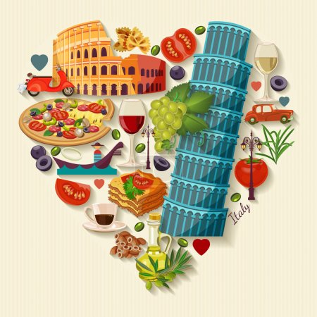 Italy love - heart shape with vector icons. Vintage style. Travel Concept