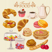 Vector set of French cuisine National food of France Icons for menu