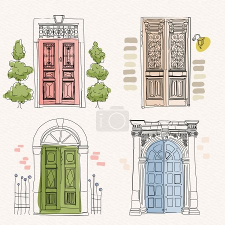 Old doors in vintage style on watercolor background. Hand drawing. Doodle design.