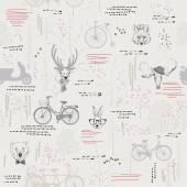 Bezešvé vzor se stromy, keře, listy, zvířata na světlém pozadí v retro stylu