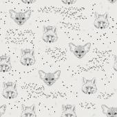 Seamless pattern with trees shrubs foliage animals on light background in vintage style