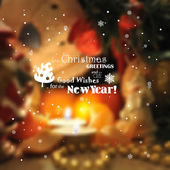 Blurred christmas background with lights, candles, snowflakes.