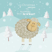 2015 new year card with cute sheep.