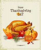 Thanksgiving day. Greeting card with turkey, pumpkin, autumn leaves, apples, berries, fruits, vegetables.