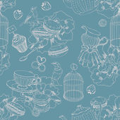 Seamless pattern with tea cage coffee pot cup jelly cherry berry macaroon strawberry spoon bird flower peony raspberry in vintage style