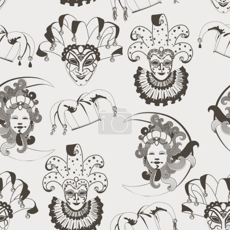 Seamless pattern with carnival venetian colorful mask on traditional background
