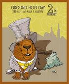 Groundhog day poster in vintage doodle style 2 February Winter and spring
