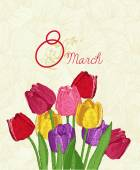 Spring flowers Tulips Greeting Card for March 8