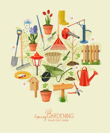 Illustration for Garden tools and plants on a beige background - Royalty Free Image