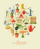 Garden tools and plants on a beige background