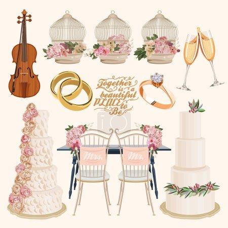 Illustration pour Ensemble de mariage - image libre de droit