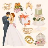 Vector vintage set of decorative wedding elements in vintage style