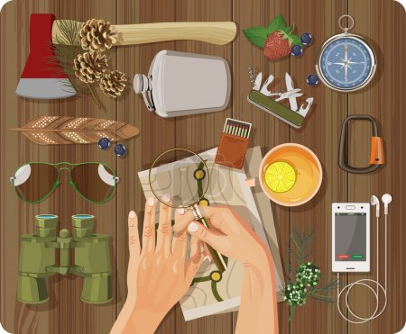 Illustration for Workplace concept. Top view with textured table, feather, hands, phone, headphones, ax, flask, binoculars, matches, magnifying glass, map, sunglasses, carbine, cup of tea with lemon - Royalty Free Image