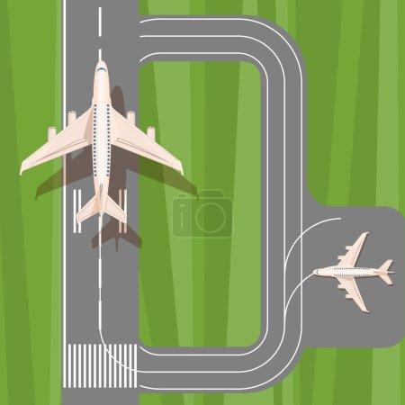 Piste avec vue de dessus avion jet. Le décollage et l'atterrissage des avions défini. Aéroport avec des avions atterrissant et décollant. Éléments de l'aéroport